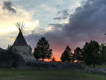 Custer resort teepee at sunset